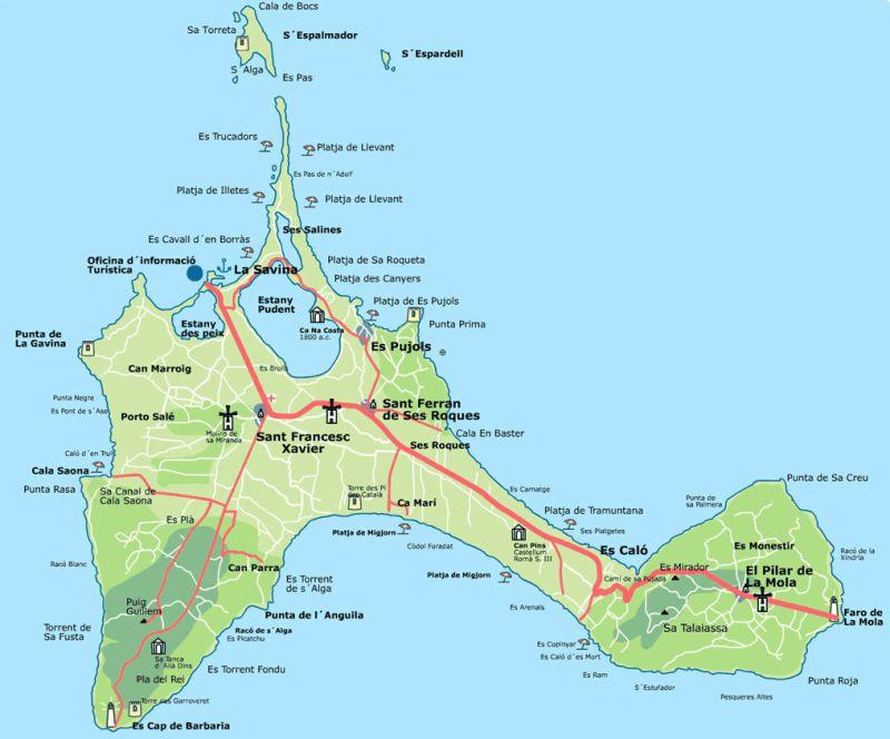 mapa formentera isla