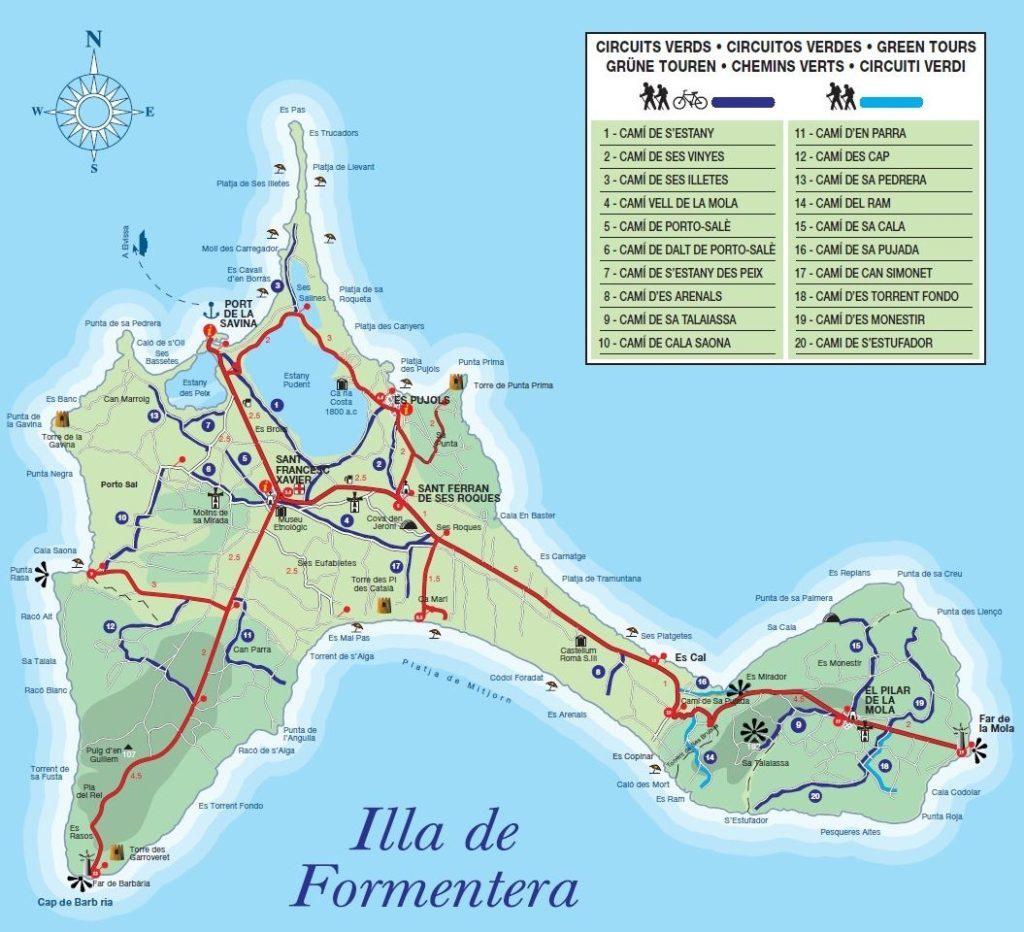 mapa rutas verdes formentera